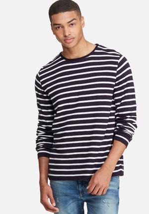 Basicthread Stripe Knit Pullover Knitwear Navy & White