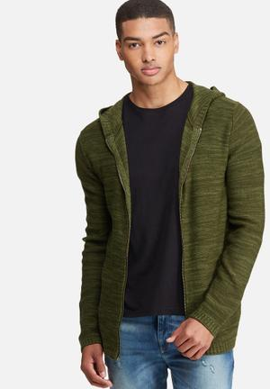 Basicthread Long Zip Through Knit Hoodie Knitwear Khaki