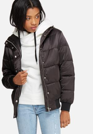 Pieces Millon Puffer Jacket Black