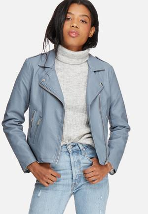 Pieces Ama Biker Jacket Blue Grey