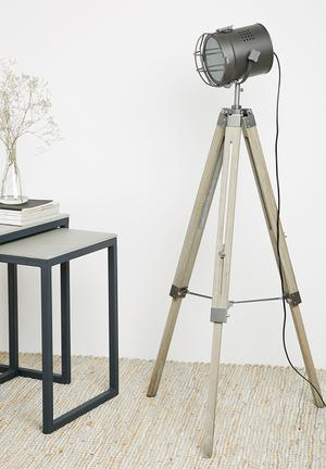 Sixth Floor Neil Tripod Floor Lamp Lighting Wood & Metal
