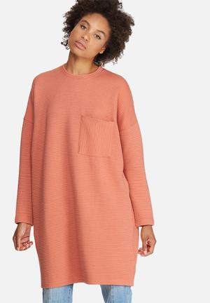 Missguided Ribbed Pocket Sweat Dress Casual Orange