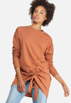 Ruched detail sweat dress