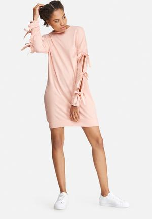 Missguided Bow Sleeve Sweat Dress Casual Pink