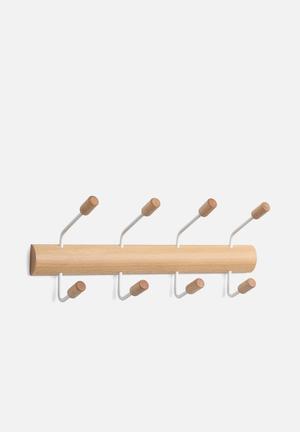 Umbra Pogo 4 Hook Organisers & Storage Wood & Metal