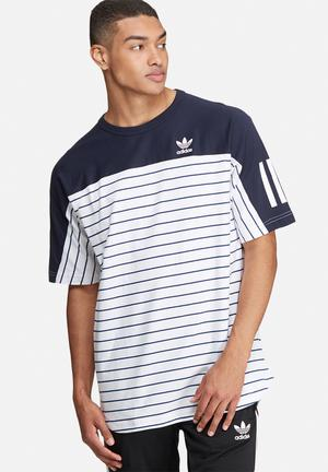 Adidas Originals Stripe Block JE T-Shirts Navy & White