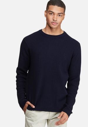 Bellfield Mowbray Rib Pullover Knit Knitwear Navy