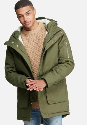 Bellfield Mens Sherpa Lined Parka Jackets Olive