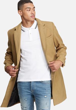 Bellfield Soto Long Wool Mix Coat Tan