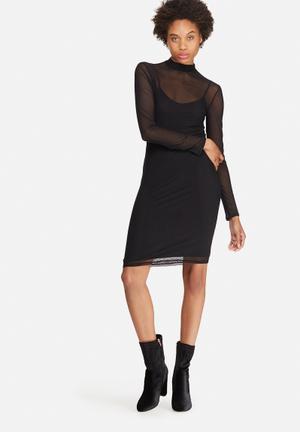Dailyfriday Mesh Bodycon Dress Occasion Black