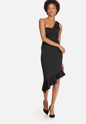 Dailyfriday One Shoulder Scuba Bodycon Dress Occasion Black