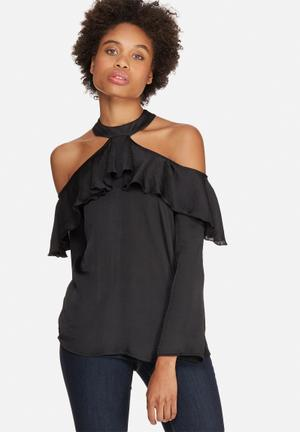 Dailyfriday Cold Shoulder Frill Blouse Black