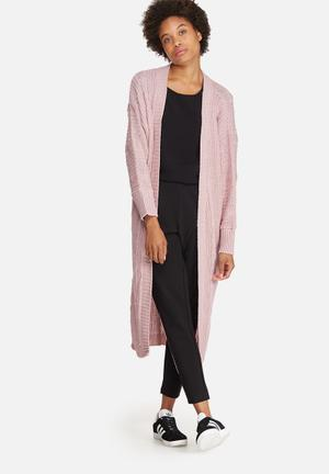 Dailyfriday Fluffy Cable Maxi Cardi Knitwear Pink
