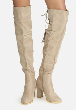 Dailyfriday Over The Knee Lace-up Boot Taupe