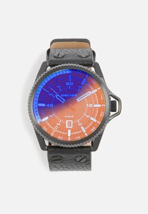 Diesel  Rollcage Watches Gunmetal, Orange & Blue