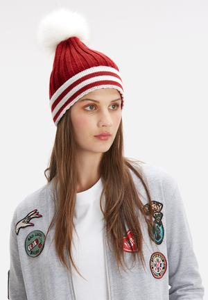 Dailyfriday Stripe Pom Pom Beanie Headwear Burgundy