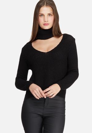 Missguided Side Split Roll Neck Knit Knitwear Black