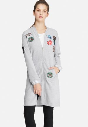 Daisy Street Longline Patch Bomber Jackets Grey