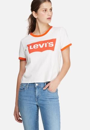 Levi's® Ringer Graphic Surf Tee T-Shirts, Vests & Camis White & Orange