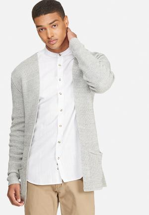 Basicthread Chunky Cardigan Knitwear Grey Melange