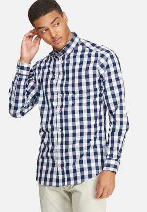 Basicthread Slim Fit Check Shirt Navy & White
