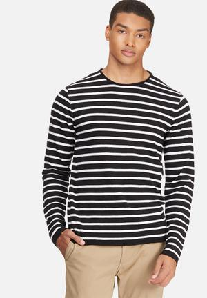 Basicthread Stripe Knit Pullover Knitwear Black & White