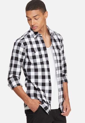 Basicthread Slim Fit Check Shirt Black & White