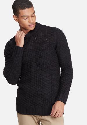 Bellfield Alroy Textured Pullover Knit Knitwear Black