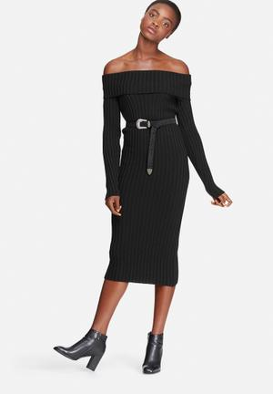 Dailyfriday Ribbed Knit Off Shoulder Dress Casual Black
