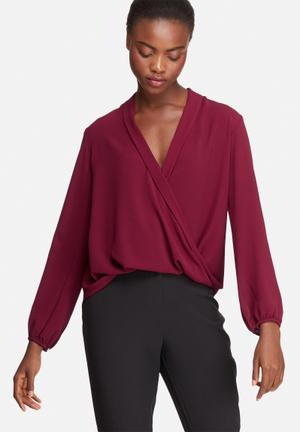 Dailyfriday Wrap Front Blouse Burgundy