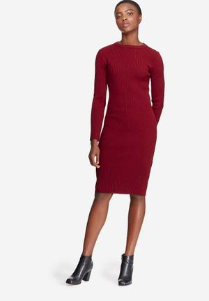 Dailyfriday Ribbed Knitwear Dress Casual Burgundy