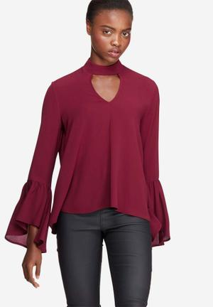 Dailyfriday Bell Sleeve Keyhole Blouse Burgundy