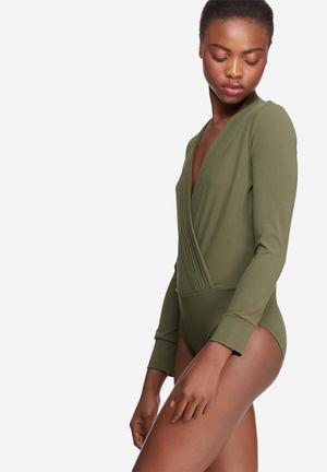 Dailyfriday Formal Wrap Bodysuit T-Shirts, Vests & Camis Olive
