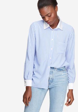 Dailyfriday Striped Soft Shirt Blue & White