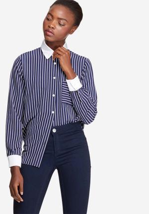 Dailyfriday Striped Soft Shirt Navy & White