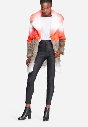 Glamorous Ombre Faux Fur Coat Jackets Orange, White & Grey
