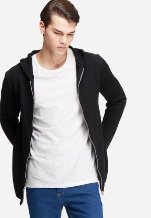 Basicthread Zip Through Knit Hoodie Knitwear Black