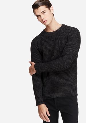 Basicthread Raglan Sleeve Textured Knit Knitwear Black & Grey