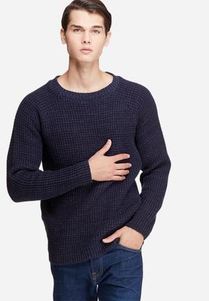 Basicthread Raglan Sleeve Textured Knit Knitwear Navy