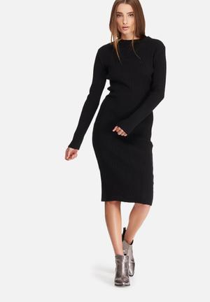Dailyfriday Ribbed Knitwear Dress Casual Black