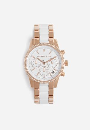 Michael Kors Ritz Watches Rose Gold & White