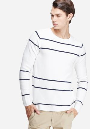 Only & Sons Absalon Crew Knit Knitwear White & Navy