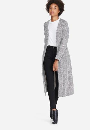 Vero Moda Gippy Long Cardigan Knitwear Black & White