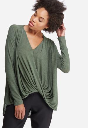 Vero Moda Honie Wrap Top Blouses Green Melange