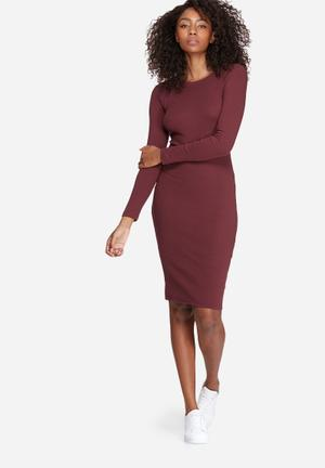 Missguided Long Sleeve Ribbed Midi Dress Casual Burgundy