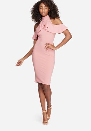 Missguided High Neck Frill Cold Shoulder Dress Occasion Pink