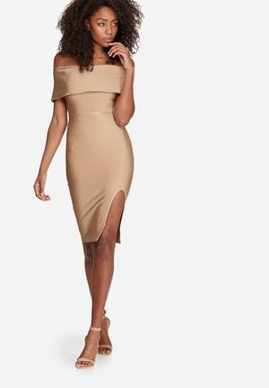 Missguided Bandage Bardot Midi Dress Occasion Nude