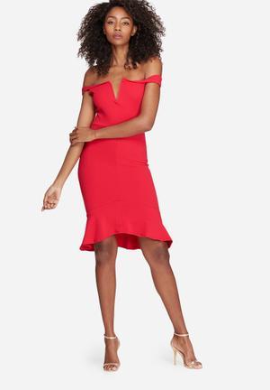Missguided V Bar Bardot Frill Bottom Dress Occasion Red
