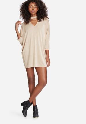 Missguided Oversized Choker Neck Slinky Dress Casual Beige
