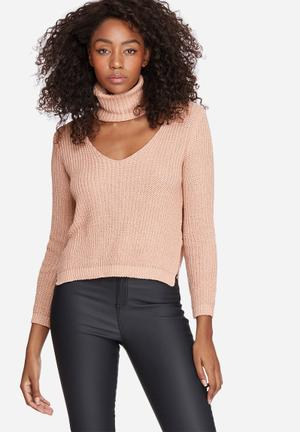 Missguided Side Split Roll Neck Knit Knitwear Pink